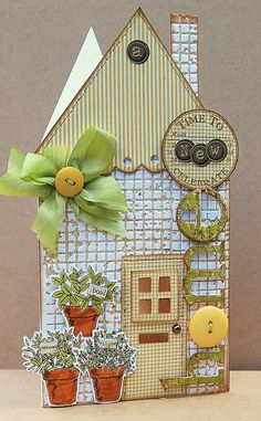 such a lovely new home card - use your Xyron to apply glitter and embellishments!