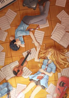 (Open RP) (Be him) You came to my house to work on creating a song for band. We are both very good at our instruments. I play violin, you play piano. It's lots of fun. We worked on a song through the whole night and finally finished. We were supposed to turn it in today. But instead I wake up to find us laying on the floor, sheet music scattered everywhere. And worse, we're late!!