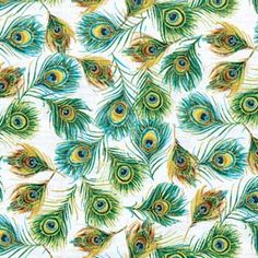 FEATHERS ROYAL PEACOCKS FABRIC   I WANT IT!!