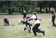 TIL that there is a sport called Jugger based off the 1989 Rutger Hauer movie The Blood of Heroes that has a dog skull for a ball and utilizes prop weapons in gameplay. I really need to find a local league. Blood Of Heroes, Dog Skull, Rutger Hauer, Post Apocalyptic, Dolores Park, Sports, Movies, Free, Weapons