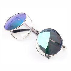 c8c276fba13 Cosplay Target Steampunk Unisex Sunglasses Metal Gold Round Frame Grey Lens