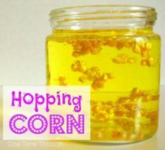 Hopping Corn Experiment: This activity would be great to discuss solids, liquids, and gases! It would be a great way for students to observe what happens when they add the baking soda!