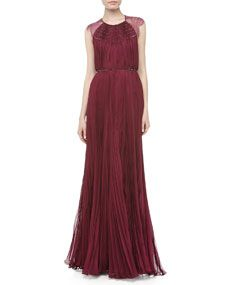 Patsy Lace Pleated Gown in Magenta by Catherine Deane at Neiman Marcus. Beautiful beading, lace cap sleeves, sheer lace back. Evening Dresses, Prom Dresses, Formal Dresses, Feminine Dress, Groom Style, Designer Gowns, Catherine Deane, Neiman Marcus, Wedding Styles