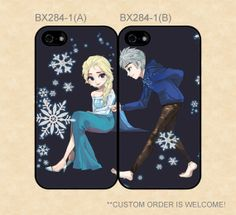 I don't really ship Elsa and Jack (21, 17?!), but this is just too sweet!! :3 BX2841 Disney Frozen Elsa and Jack Couple Case by casecase123, $27.99