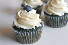 Blueberry Blueberry Cupcakes with Brown Sugar Buttercream by The Baking Robot