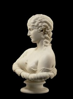 Bust; Parian porcelain; of Clytie; maker's marks impressed at the back; set on an earlier plinth impressed with marks. England      1863 (base made) /     1881 (made). | © Trustees of the British Museum