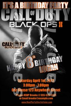 black ops 2 party | Call of Duty Black Ops 2 4x6 Personalized Birthday Party Invitations ...