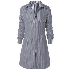 Striped Shirt Collar Mini Dress