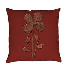 Cute Copper Flower Red Canvas Everyday Pillow