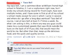 Taco Bell's epic response to a fan on its Facebook page.