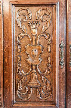 Beautiful... Old Oak French Panel Door. Architectural  carved detailing.