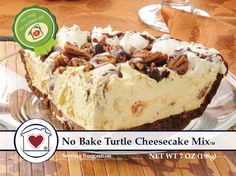 No-Bake Turtle Cheesecake Mix combines pecans, caramel, and chocolate into a rich cheesecake that's so simple to make. It's rich, delicious and will make your mouth water. Just add cream cheese, whipp (Turtle Cheesecake Recipes) Mini Desserts, No Bake Desserts, Easy Desserts, Delicious Desserts, Yummy Food, Healthy Desserts, Icebox Desserts, Blueberry Desserts, Delicious Dishes