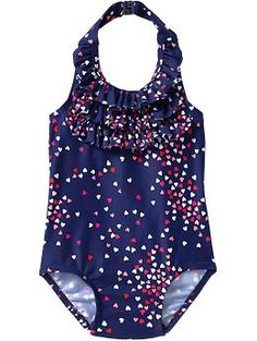 Ruffled Heart-Print Swimsuits for Baby   Old Navy