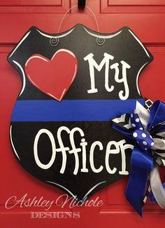 Police Wife Door Hanger Wooden Cutout Door by DesignsAshleyNichole