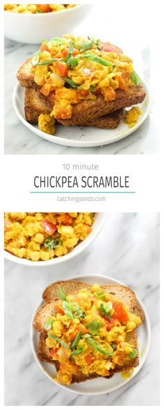 This Chickpea Scramble is a 10 minute healthy weekday breakfast recipe! Slimming world Leave out yeast Syn Free