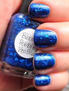 Lynnderella Bibbitty Bobbitty Boo Blue layered over China Glaze Blue Year's Eve.
