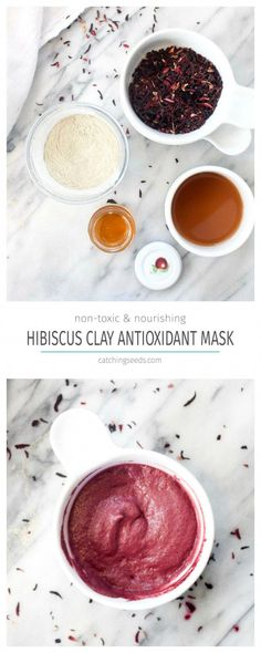 This Hibiscus Clay Antioxidant Face mask will infuse your face with anti-aging antioxidants and banish blackheads using all natural non-toxic ingredients! | CatchingSeeds.com #FaceMaskForSpots Face Mask For Blackheads, Acne Face Mask, Face Face, Face Diy, Pore Mask, Blackhead Mask, Aloe Vera, Anti Aging, Lotion