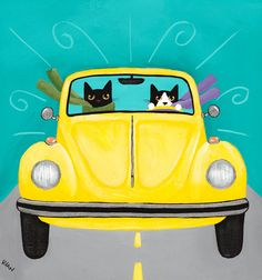 CAT Art Sunny Yellow Road Trip Original Cat Folk by KilkennyCatArt