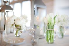 Groupings of different white flowers