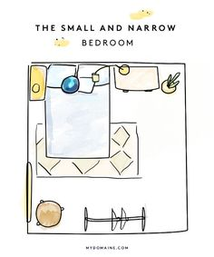 The Layout: If your bedroom layout is barely big enough to fit a bed, there are a few hacks that will help you manage the space. While we don't love pushing a bed against the wall, try...