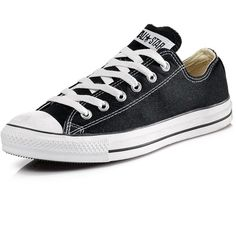 Converse Chuck Taylor All Star Ox Plimsolls ($59) ❤ liked on Polyvore featuring shoes, sneakers, converse, black lace shoes, converse trainers, planet shoes, black canvas sneakers and lace up sneakers