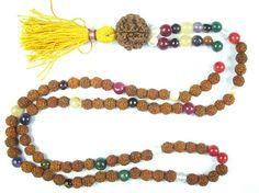 Yoga Mala Navaratan Rudraksha Prayer Beads for Meditation, Healing Prayer Malas, Holy Necklace