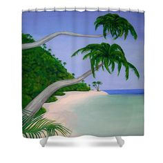 Tropical Invitation Shower Curtain by Faye Anastasopoulou. This shower curtain is made from polyester fabric and includes 12 holes at the top of the curtain for simple hanging. The total dimensions of the shower curtain are wide x tall. Beautiful Modern Homes, Ocean Scenes, Fancy Houses, Pattern Pictures, Curtains With Rings, Curtains For Sale, Home Decor Items, Shower Curtains, Artist At Work