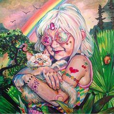 cat art girl random Glitter painting cocaine drugs weed hipster ...
