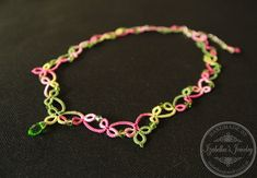 Lace tatted necklace with crystal beads II by IzabelkasJewelry