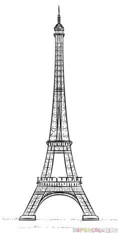 How to draw the Eiffel Tower step by step. Drawing tutorials for kids and beginners.