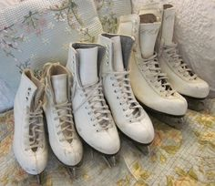 vintage white Ice Skates - rustic cabin, shabby cottage chic style <3