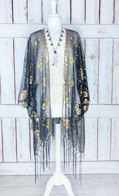 4216e102a Sheer black net metallic gold sequin floral gypsy festival fringe kimono/beaded  tassel boho cover up duster cardigan/sml/plus size/one size
