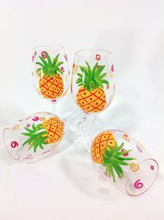 Hand painted pineapple glasses!