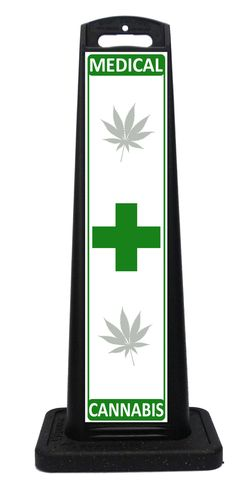 Portable Medical Cannabis Sign for a Medical Dispensary, cannibas store or medical marijuana dispensary. Features the widely recognized green cross which attracts attention. Portable Signs, Sidewalk Signs, A Frame Signs, Parking Signs, Custom Labels, Indoor Outdoor, Bookends, Weather