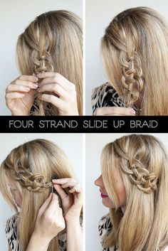 hair tutorials step by step | Hairstyle tutorial – four strand braids and slide up braids | Hair ...