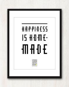 Happiness is homemade.  Hasło Słoika Szczęścia dostępne jako grafika na sprzedaż w formacie A4 i A3.