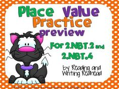 FREEBIE Halloween Themed Place Value Practice Covers Common Core  from Reading Writing Redhead on TeachersNotebook.com -  (8 pages)  - Freebie - one activity from my cute Halloween-themed product for two of the second grade common core standards for place value - 2.NBT.2 and 2.NBT.4 . It includes my Place Value cut and glue activity and could be used for differentiation in first and thir
