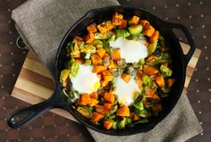 Sweet Potato and Brussels Sprouts Hash #healthyrecipe #brunch #eggs