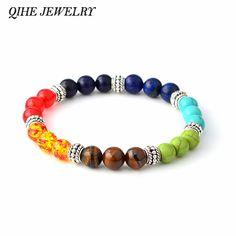 Qihe 보석 여러 가지 빛깔의 7 차크라 치유 균형 비즈 팔찌 yoga 수명 에너지 천연 돌 팔찌 여성 남성 캐주얼 보석