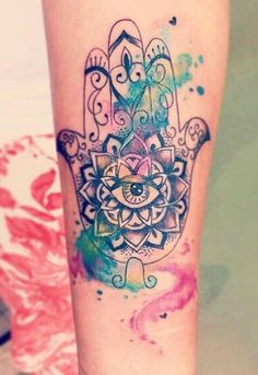 Awesome use of the watercolor style. #Inked #inkedmag #tattoo #style #hamsa #hand #color #watercolor #bright