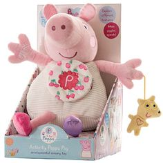 A 24cm soft Peppa Pig which Oinks and plays music. With a Mirror, Crinkles and Squeaks.In display box