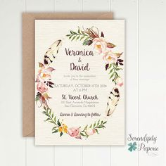 One of our many designs from our boho chic collection, to view all of our collections make sure you check out our website (link in bio)  #wedding #invitation #weddingstationery #boho #chic #bohowedding #bohemian #floralwreath #bridetobride #feathers #stationery #bridebook #watercolor #invitation #stationeryset #weddinginspiration  #paperie #bridetobride #savethedate #customdesign #bridetobe #isaidyes #weddingplanning #weddingideas #weddingseason #stationerysuite #noviasig #blog…