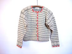 Vintage Norwegian Grey Red White Scandinavian Sweater Made in Norway Wool Sweater Pewter buttons