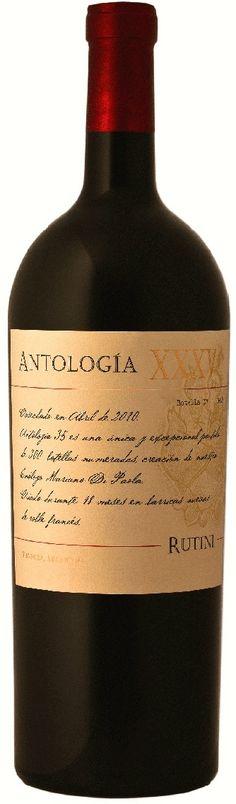 """Antología XXXV"" 40% Malbec / 30% Cabernet Sauvignon / 15% Petit Verdot / 15% Cabernet Franc 2010 - Rutini Wines, Tupungato, Mendoza--------------------------------- Terroir: Tupungato & Altamira (San Carlos)------------------------------Crianza: 18 meses en barricas de roble francés nuevas White Wine, Red Wine, Best Italian Wines, In Vino Veritas, Wine Labels, Wine Time, Cabernet Sauvignon, Wine Country, Wine Tasting"