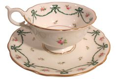 Vintage English Coalport Cup and Saucer. Pink with swags and flower decoration. Gold rims
