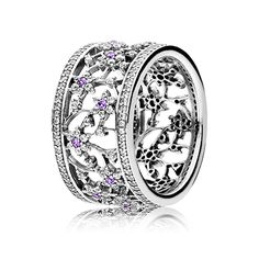PANDORA | Forget me not silver ring with purple and clear cubic zirconia