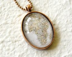 World Traveler OVAL Map Necklace  Africa by TheGreenDaisyShop, $20.00