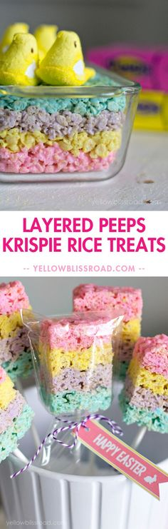 Layered Peeps Rice Krispie Treats for Easter