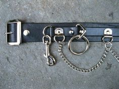 Black Leather 5 Ring Bondage Belt With Chain from by ApeLeather