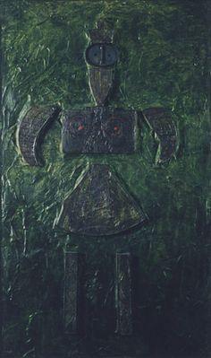 Eva 2050 Quartz sand, pigments, metal on wood, 1994, 175x105 cm